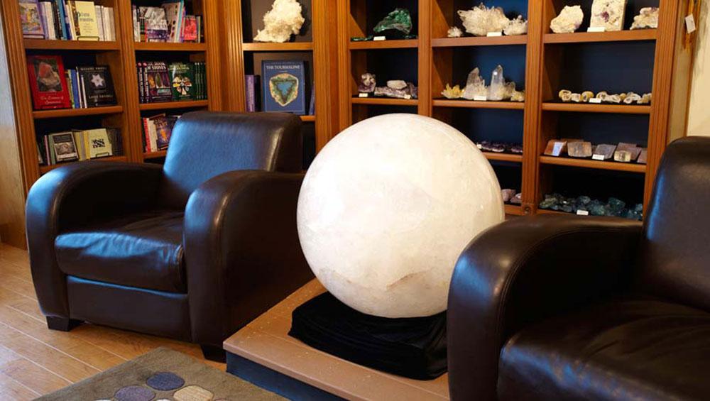 Large 1110 Pound White Quartz Sphere from Brazil